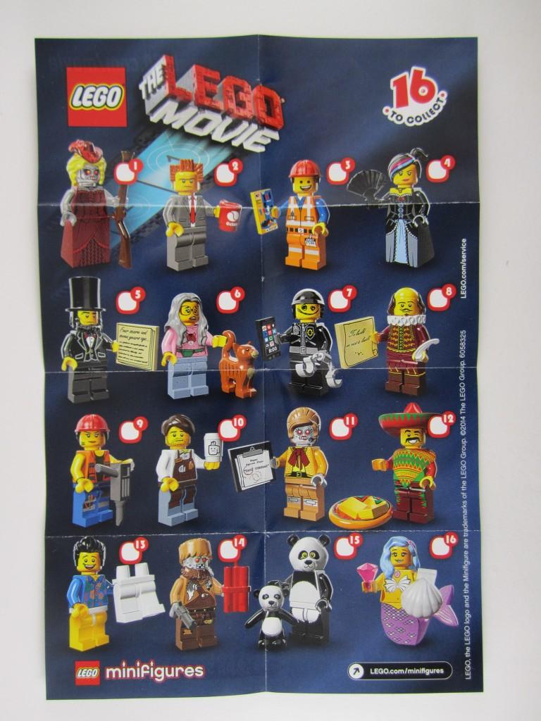 Lego Movie Minifigure Manual Sheet
