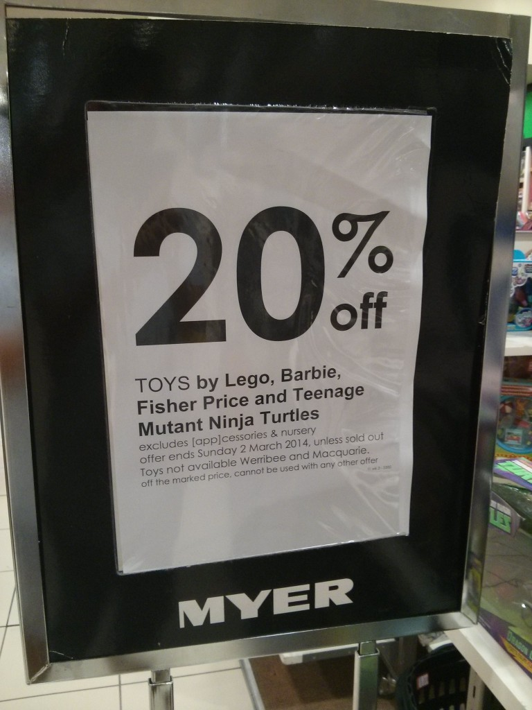Myer Lego Sale February 2014