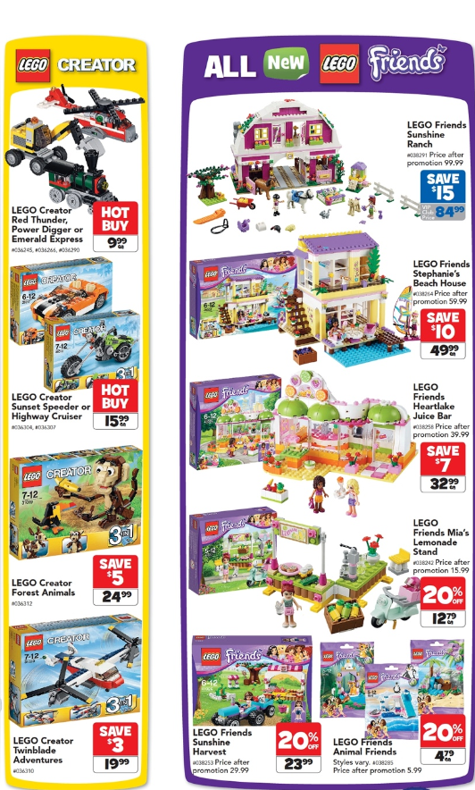 Toys R Us February LEGO Sale 2014 Friends Creator