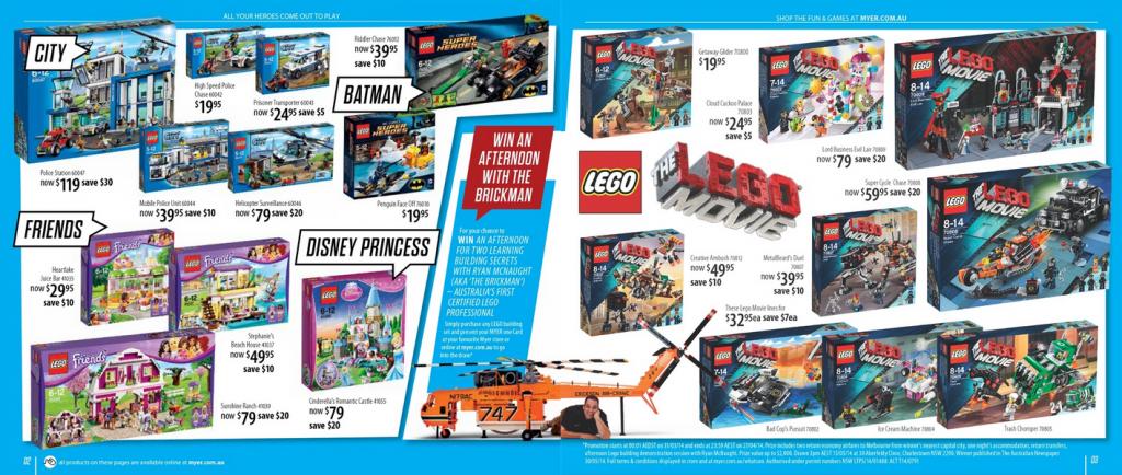 Myer LEGO Sale April