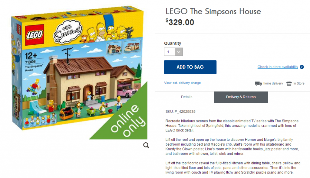 LEGO Simpsons House Kmart Online