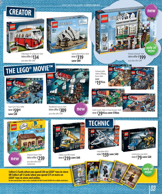 MYER LEGO Toy Sale 2014