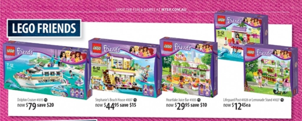 Myer LEGO Friends Toy Sale 2014
