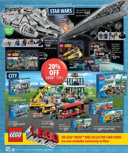 Myer LEGO Sale Star Wars City Toy Sale 2014