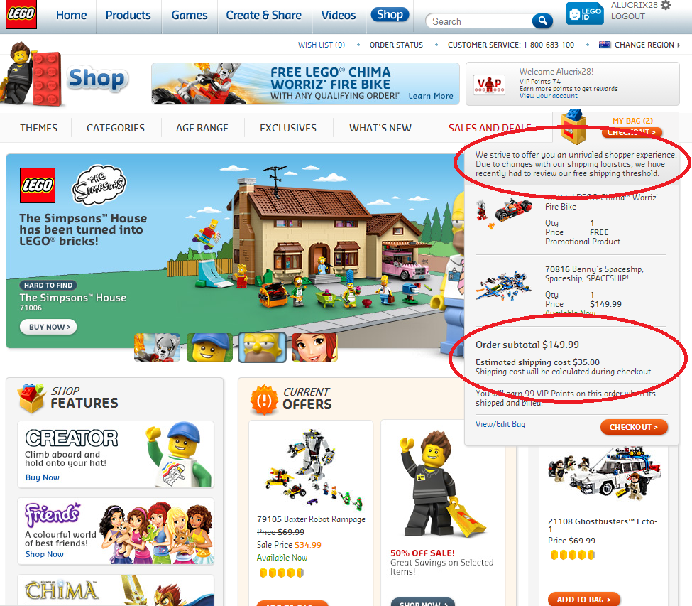lego.com shipping changes