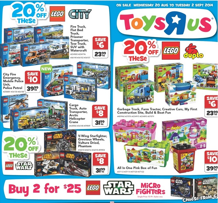Toys R Us LEGO Catalogue August 2014