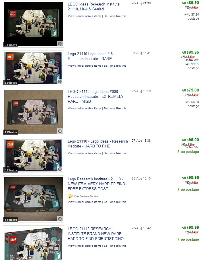 LEGO Research Institute Ebay Price