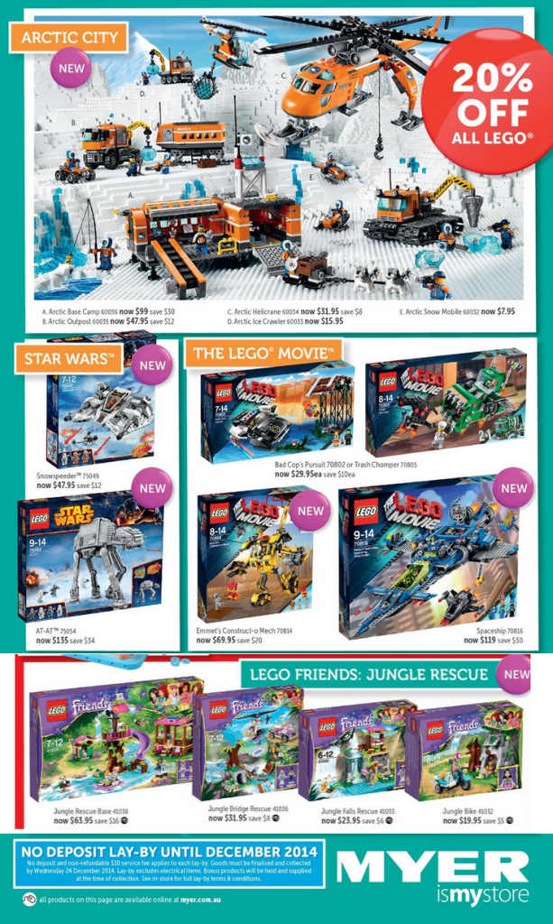 Myer LEGO Sale September 2014