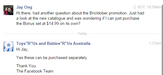 TRU Bricktober Purchase Separately