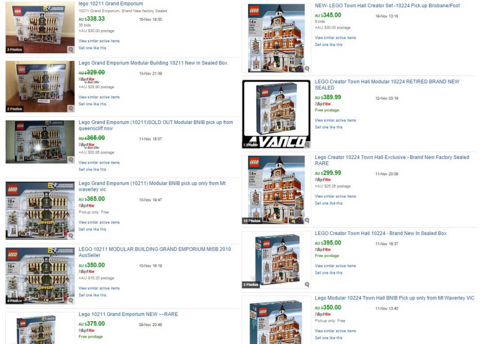 LEGO Grand Emporium and Town Hall ebay prices