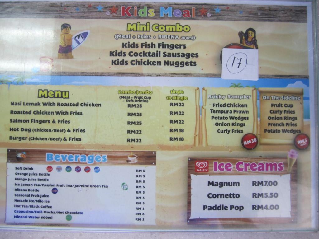 Legoland Malaysia Water Park Beach Grill Menu