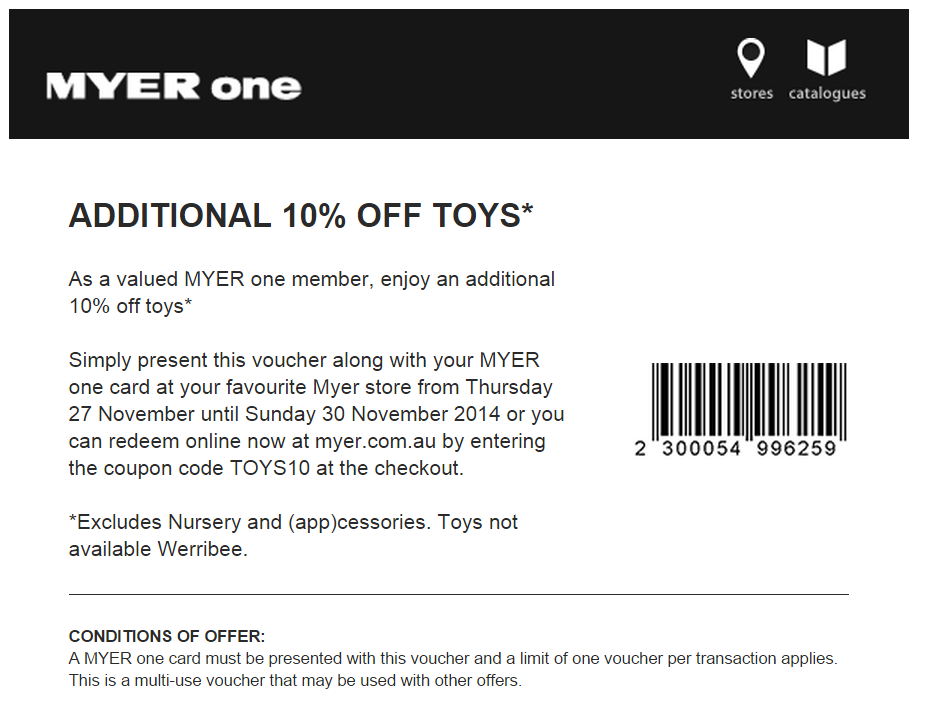 Myer One Voucher TOYS10