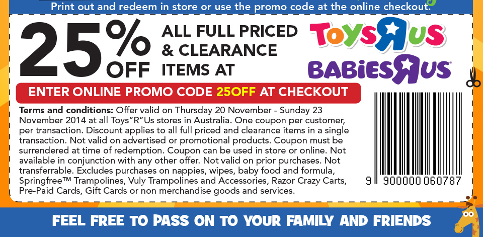Toys R Us Friends and Family Discount Code November 2014