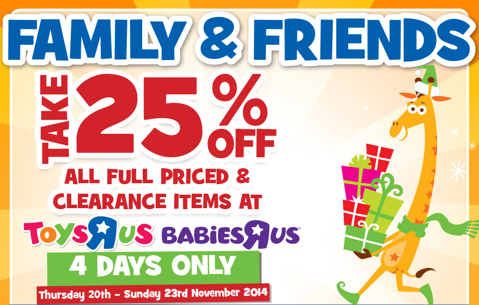 Toys R Us Friends and Family Sale November