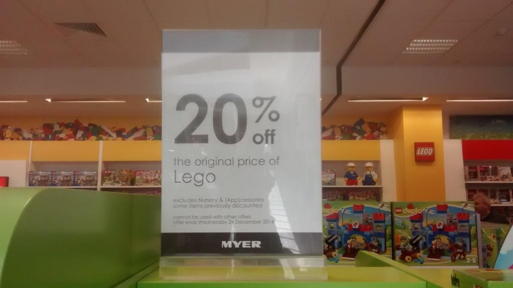 MYER Lego Christmas Sale 2014