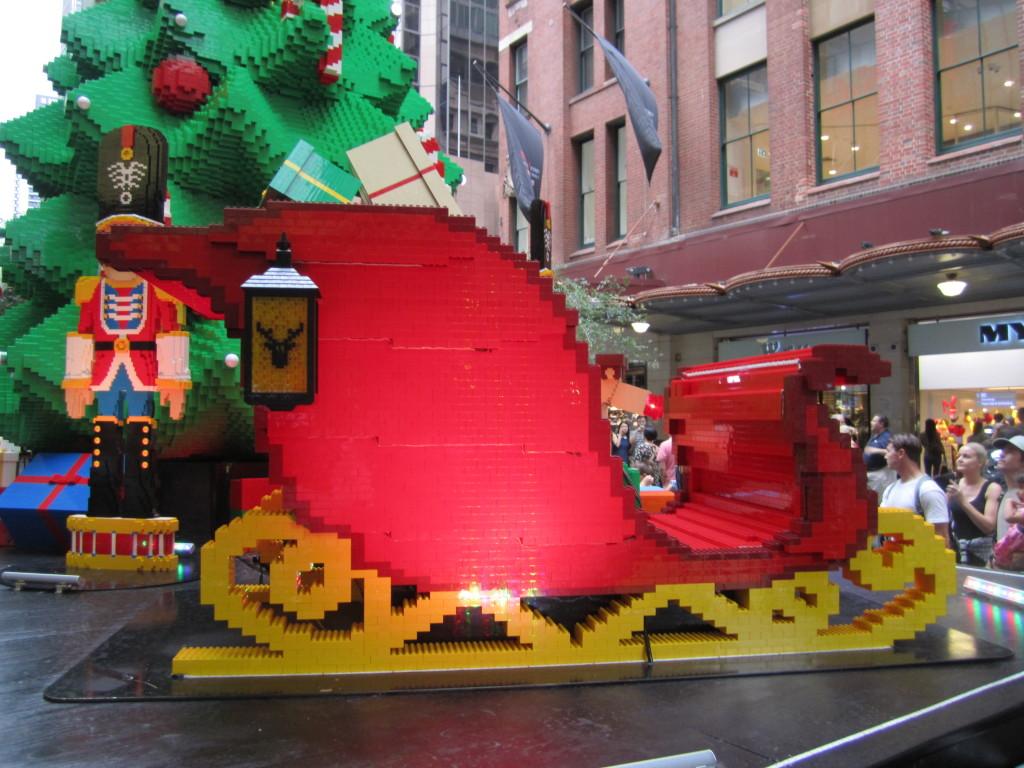 Sydney LEGO Christmas Tree Sleigh Side View