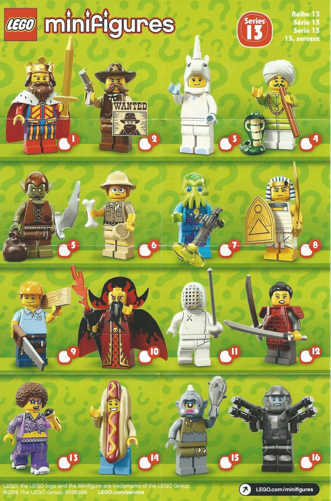 LEGO Minifigures Series 13 Character Checklist