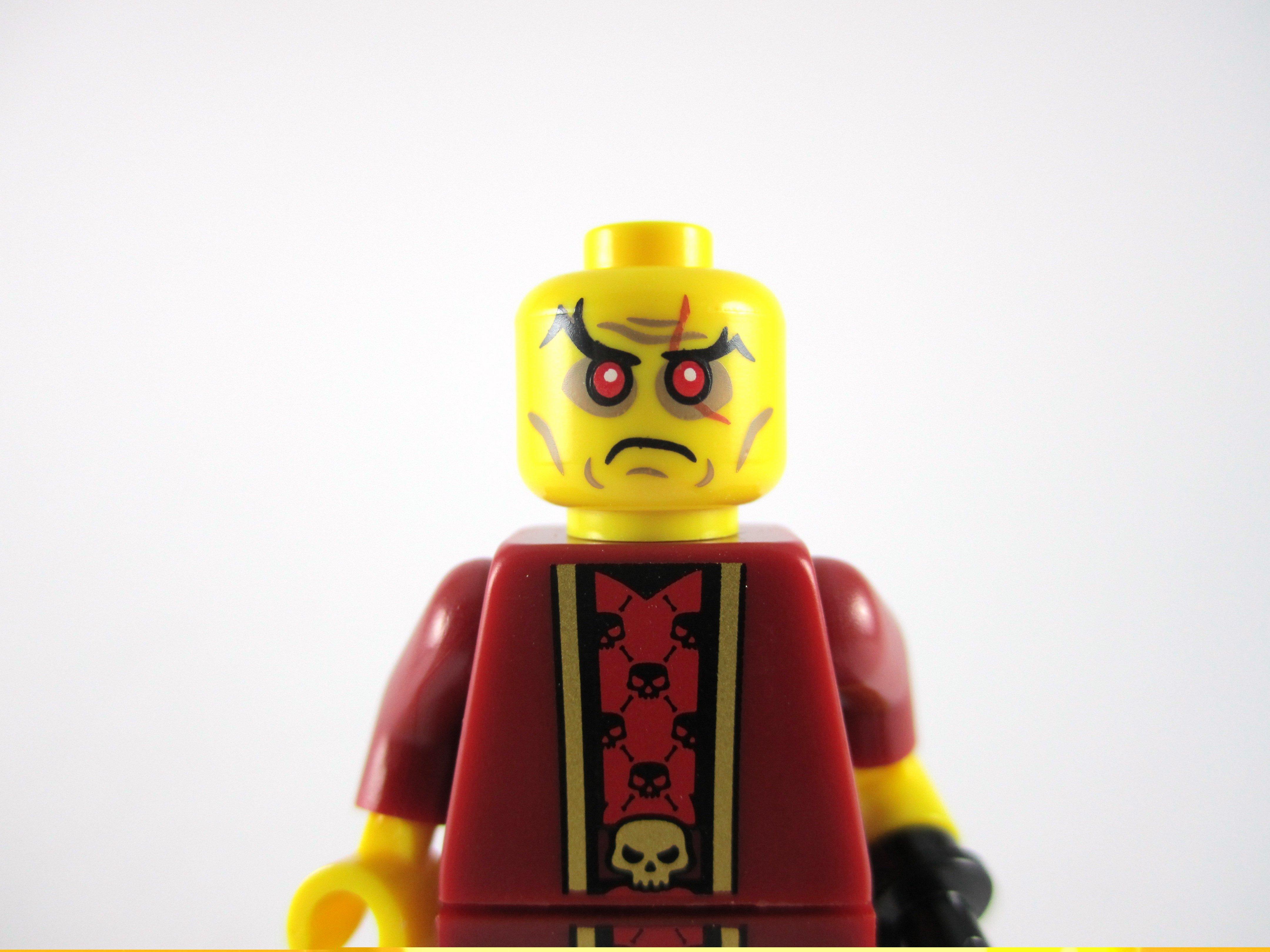 Lego New Yellow Minifigure Head White Gray Eyebrows Goatee Eyelashes Sensei Wu
