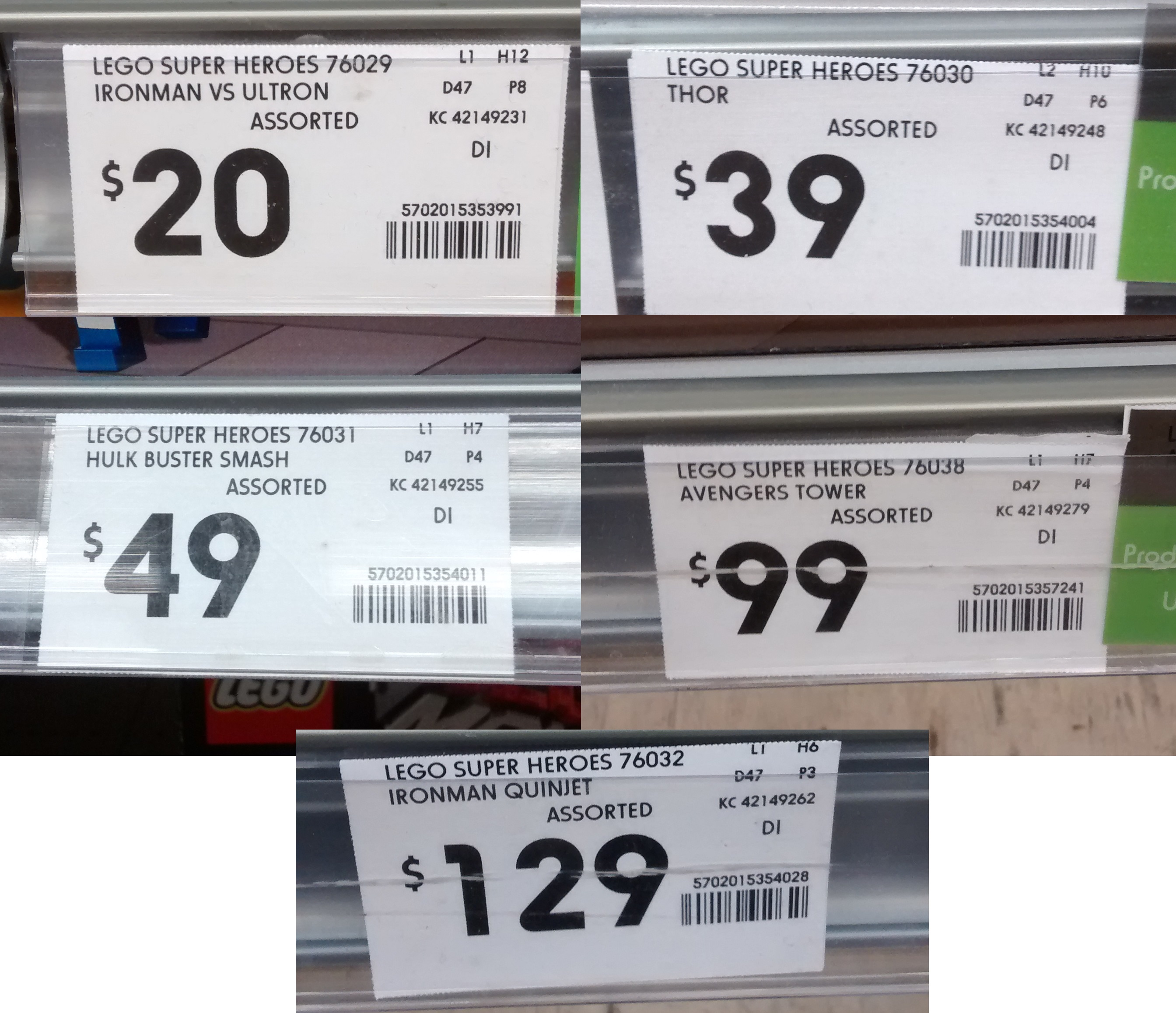 Fancy Kmart Avengers Set Price Tags
