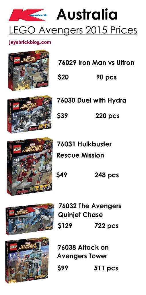 LEGO Avengers 2015 Kmart Australia Price List