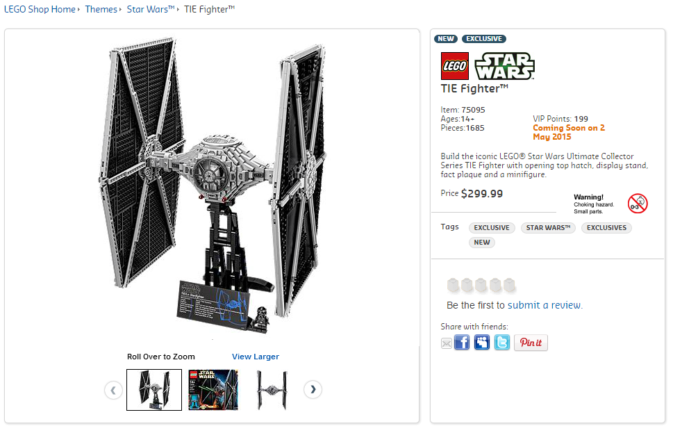 LEGO UCS Tie Fighter Listing