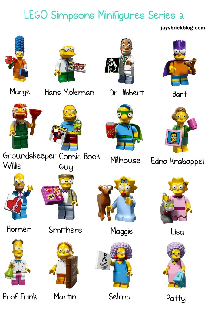 LEGO Simpsons Minifigures Series 2 Character Names