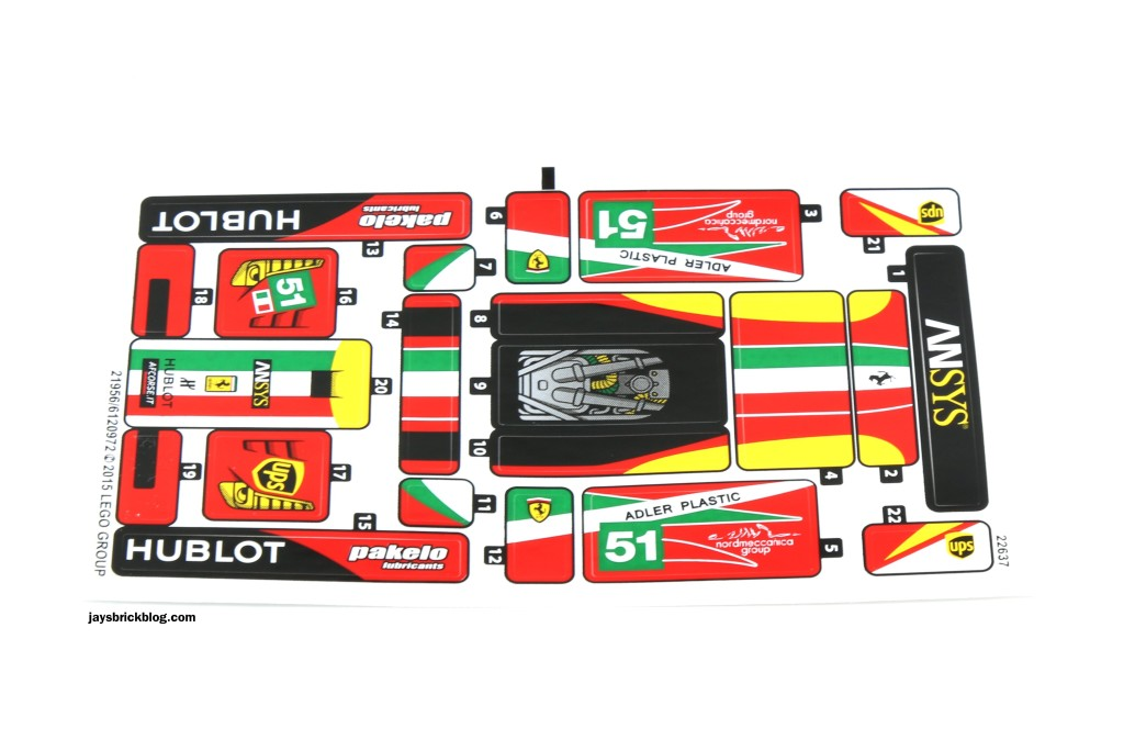LEGO 75908 - Ferrari 458 Italia GT2 Sticker Sheet