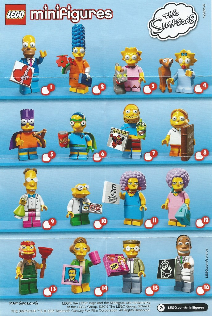 LEGO Simpsons Minifigures Series 2 Checklist