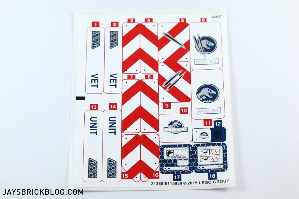 LEGO 75917 Raptor Rampage - Sticker Sheet