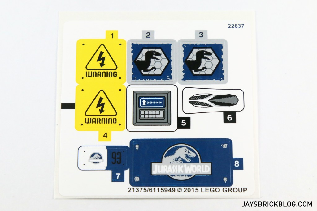 LEGO 75920 Raptor Escape - Sticker Sheet