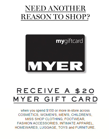 Myer One Gift Card Offer September 2015