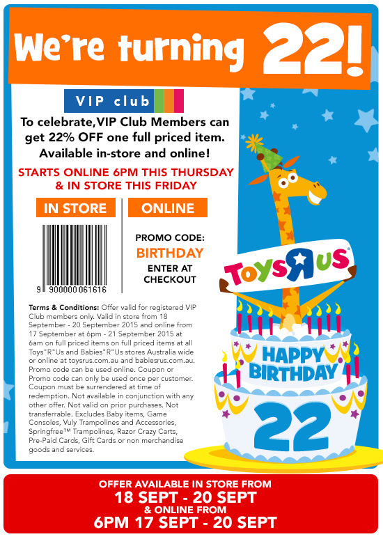 Toys R Us Australia 22 Birthday Voucher