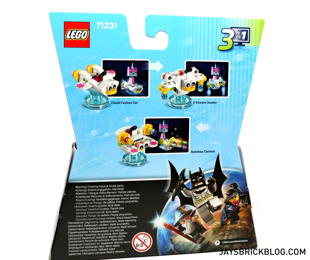71231 LEGO Dimensions Unikitty Fun Pack - Back of Box