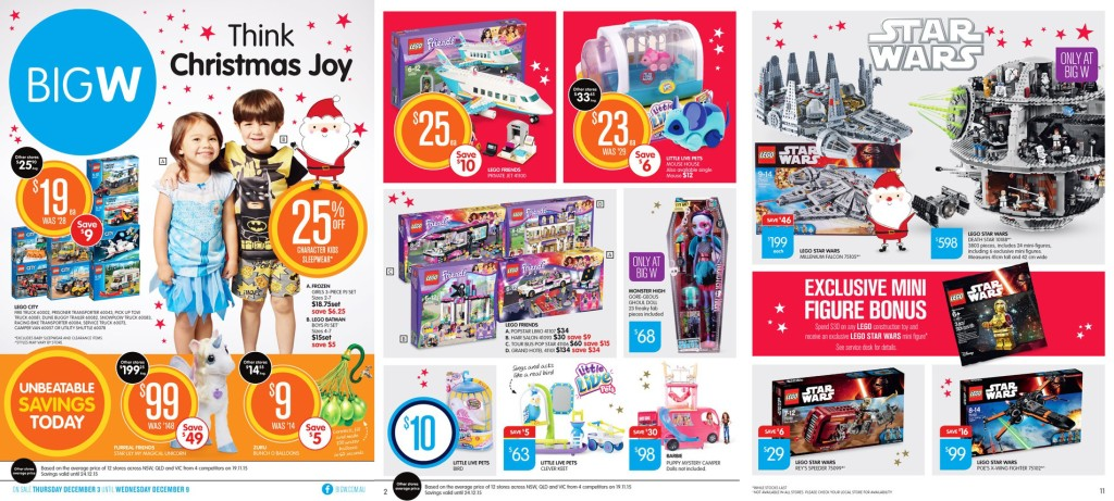 Big W LEGO Catalogue Sale 3 December 2015