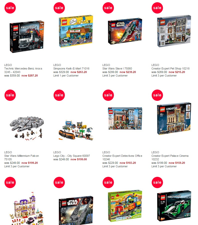 Myer December LEGO Sale 20 per cent off