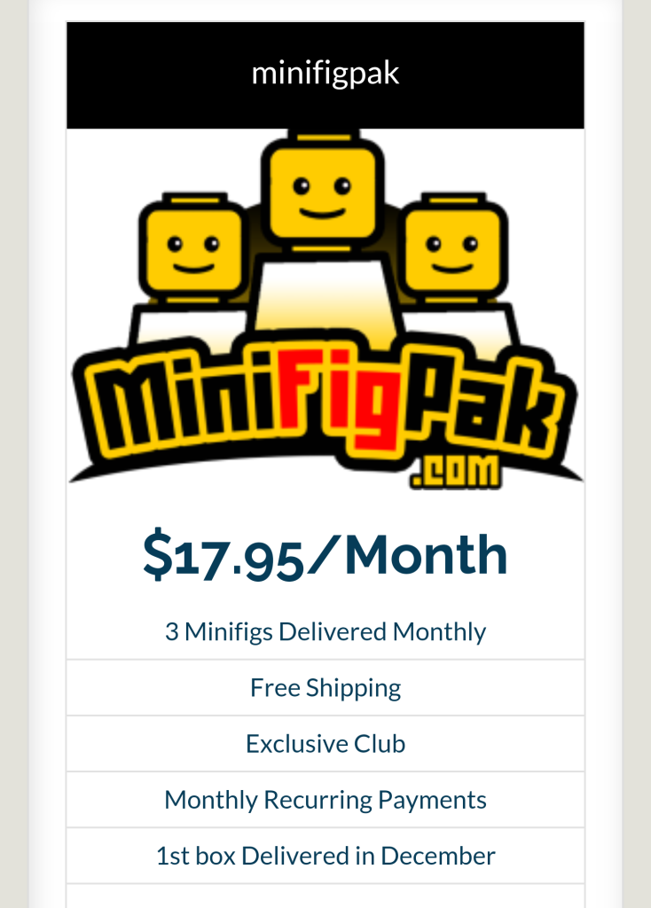 Introducing Minifigpak.com, a monthly minifigure subscription service