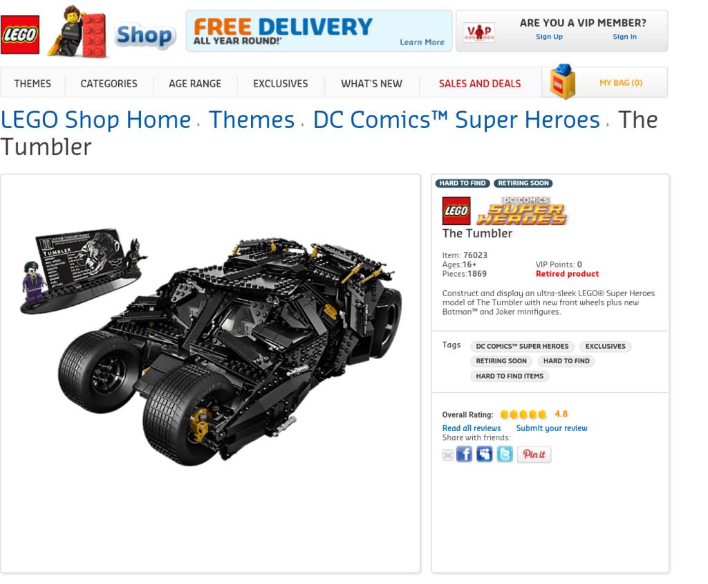 LEGO 76023 Batman The Tumbler Officially Retires