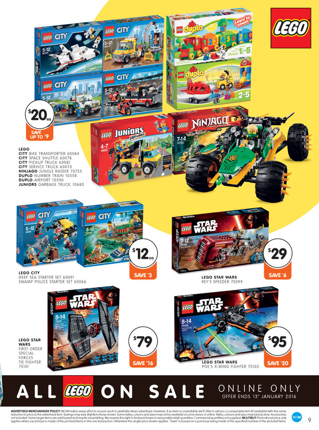Big W LEGO Sales - January 2016