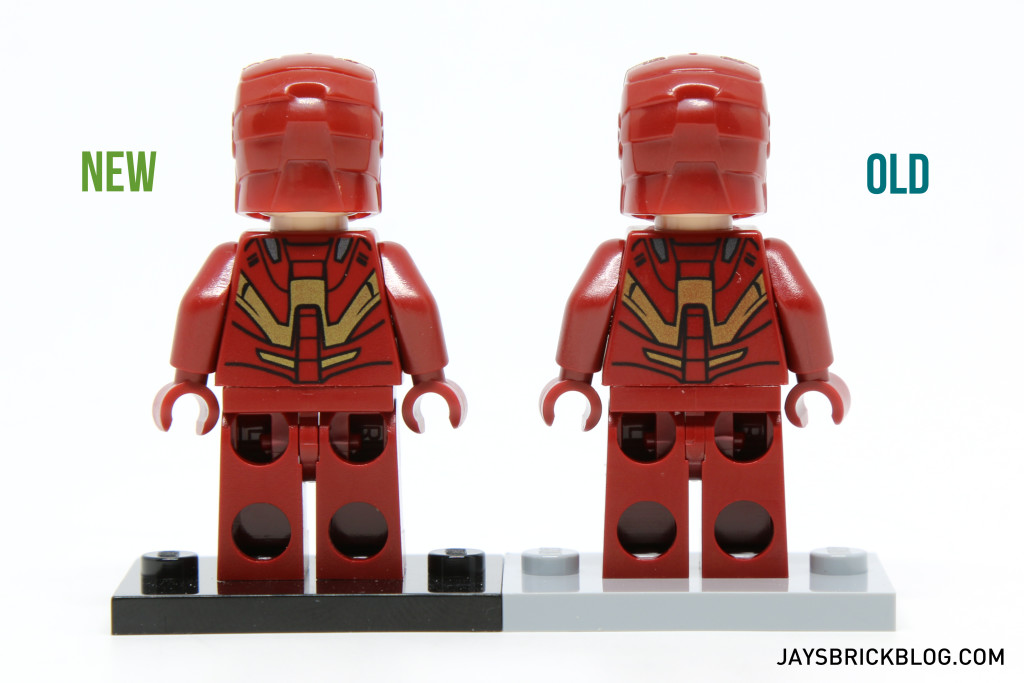 Iron Man 6869 and 10721 Minifigure Comparison - Back Voew