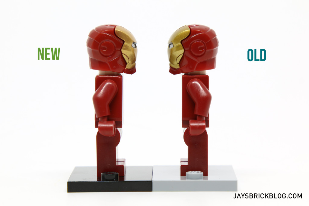 Iron Man 6869 and 10721 Minifigure Comparison - Side View Alternate