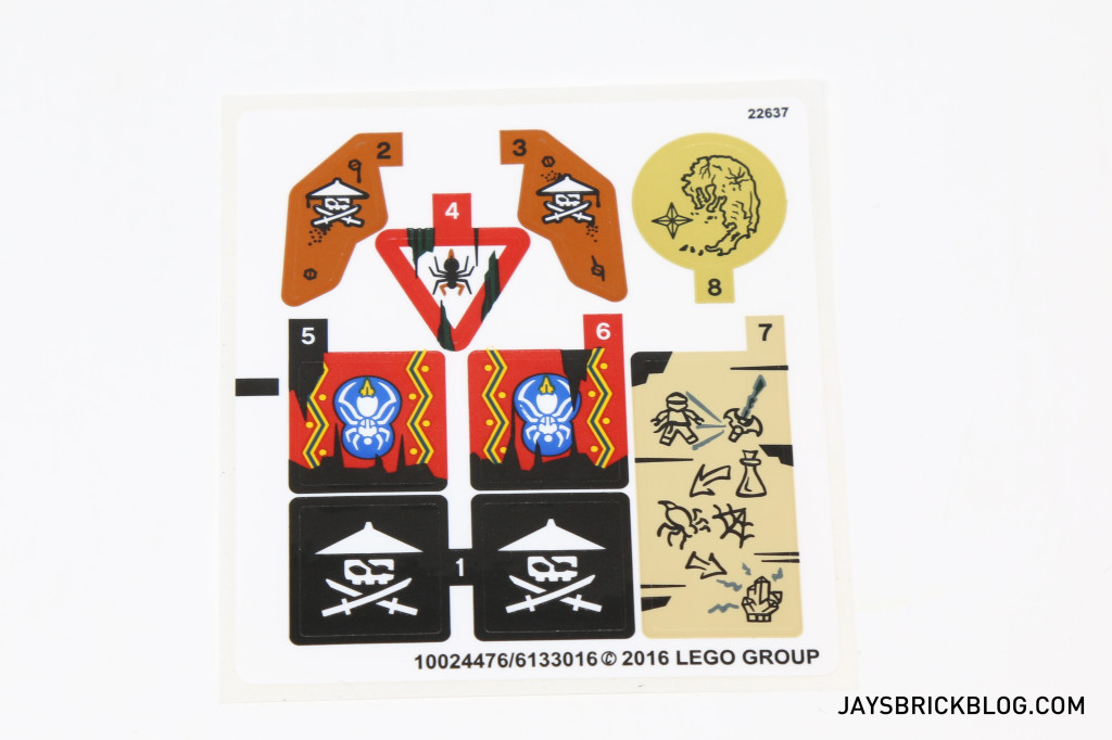 LEGO 70604 Tiger Widow Island - Sticker Sheet