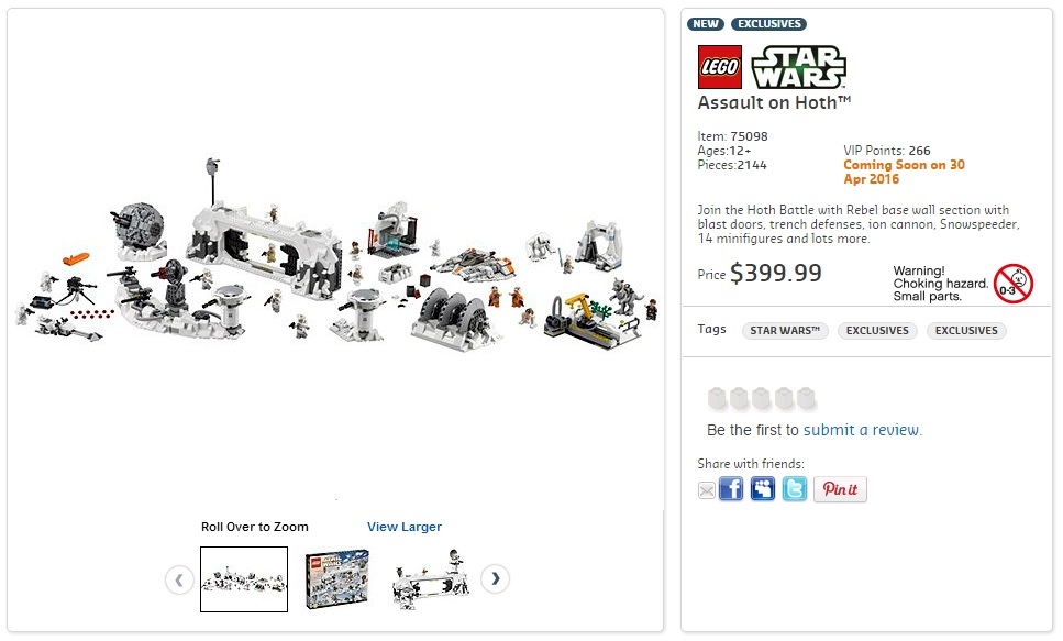 LEGO 75098 UCS Assault on Hoth Australian Price