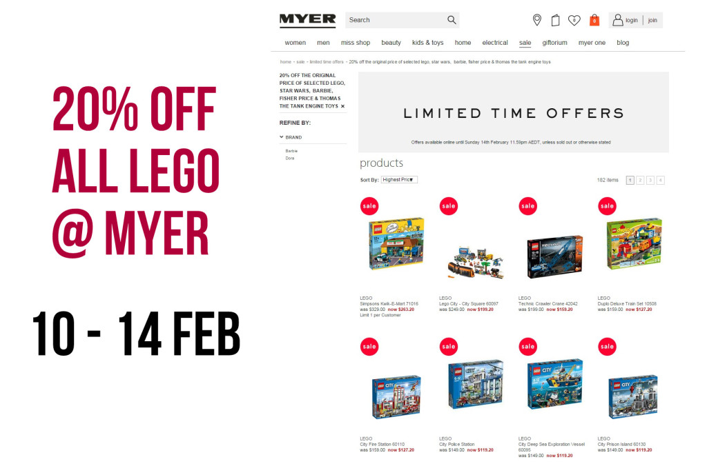 Myer LEGO Sale February 2016