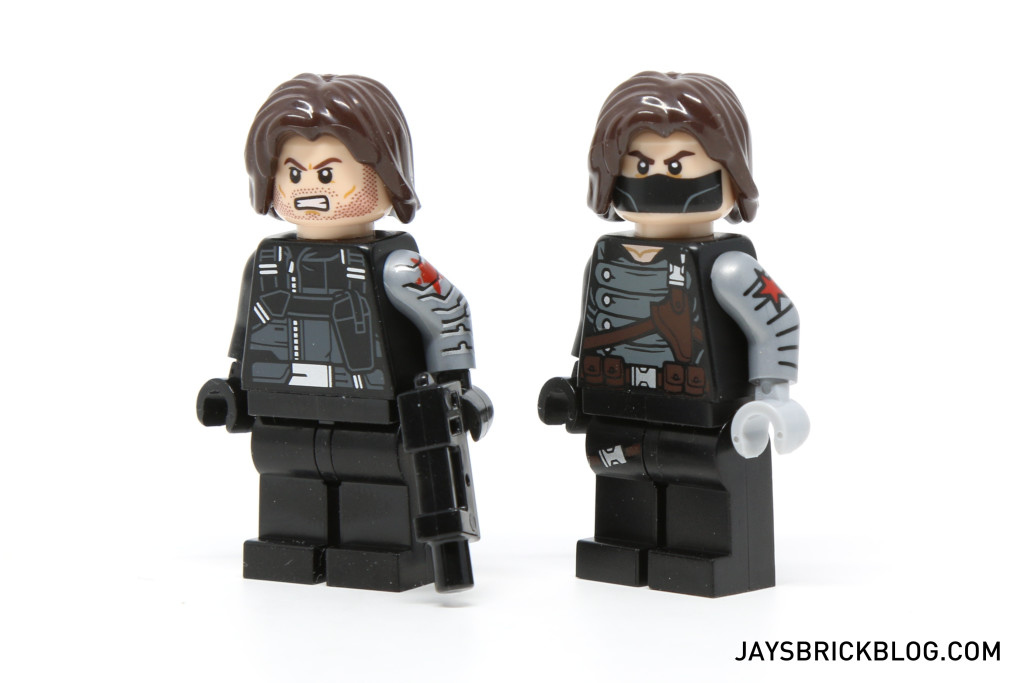 LEGO 76047 Black Panther Pursuit - Winter Soldier Minifigure Differences