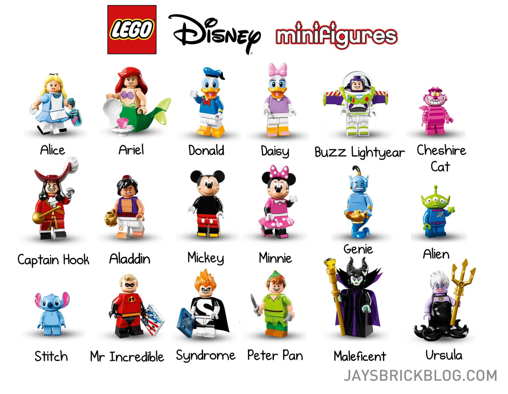 LEGO Disney Minifigures Character Names