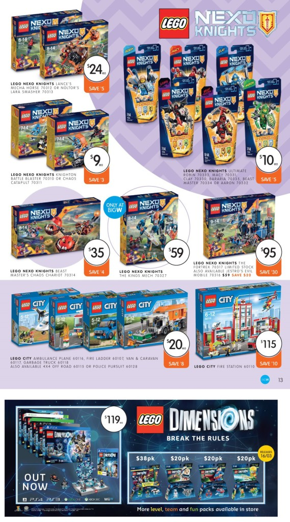 LEGO Sale Big W March 2016 Nexo Knights