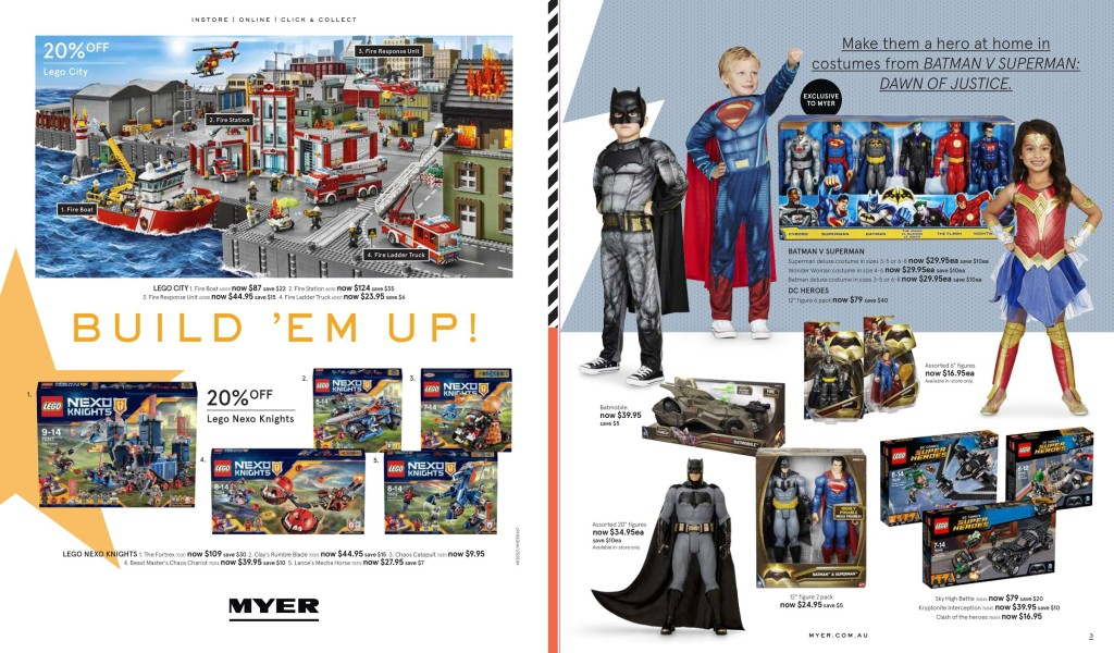 Myer LEGO Sale March 2016 City, Nexo Knights, Batman