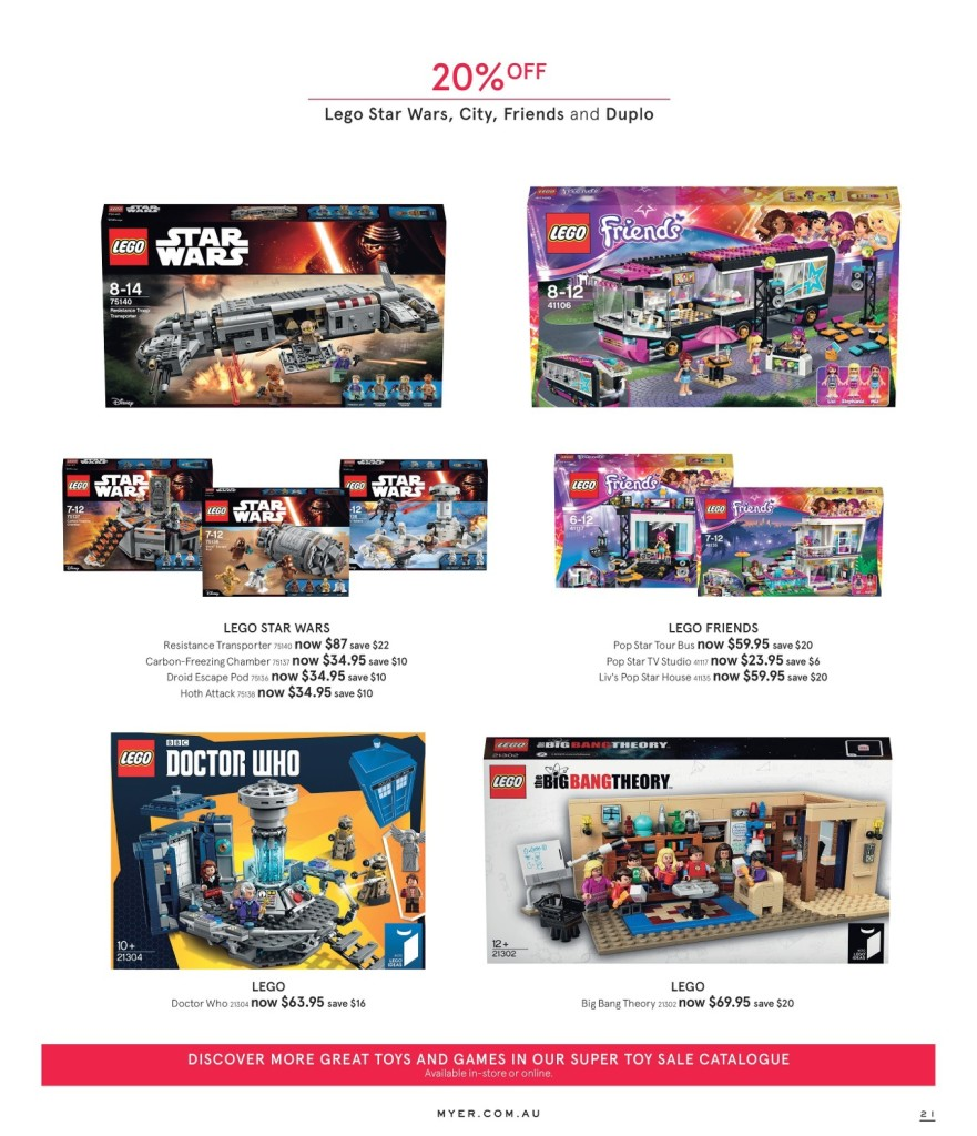 Myer LEGO Sale March 2016 City, Star Wars, Friends, Duplo