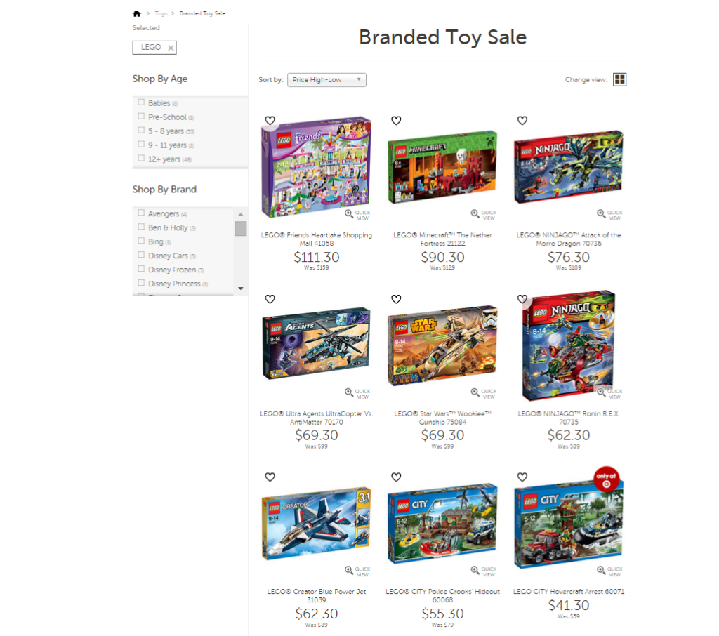 Target LEGO Sale March 2016