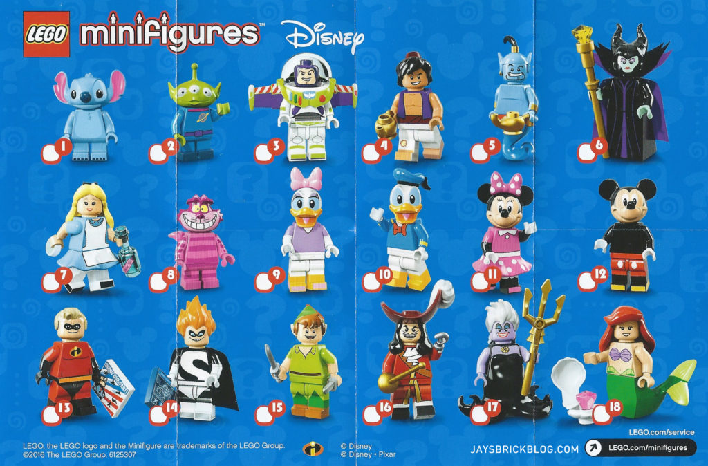 LEGO Disney Minifigures - Character Checklist Sheet